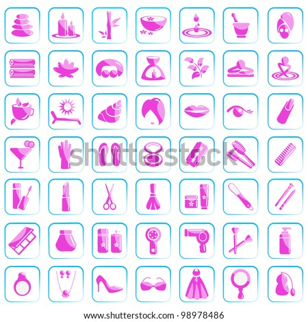 vector illustration of beauty and fashion icon set - stock vector