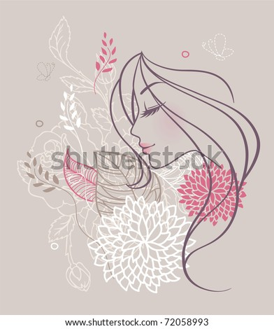 Vector illustration of Beauty floral woman - stock vector