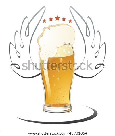 Vector illustration of beer glass. No meshes.