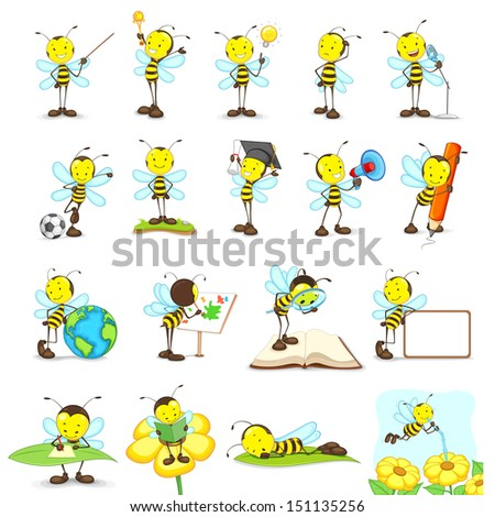 vector illustration of bees doing different activities - stock vector
