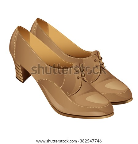 Vector illustration of beige classic autumn shoes with laces on middle heel.