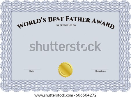 Best father certificate template choice image certificate design vector certificate template gold seal easy stock vector 58815595 vector illustration of best dad award template yadclub Image collections