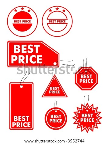 Vector illustration of best price labels - stock vector
