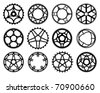 Vector illustration of bicycle chain wheels - stock vector