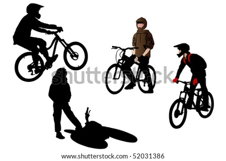 Vector illustration of bicyclists under the white background