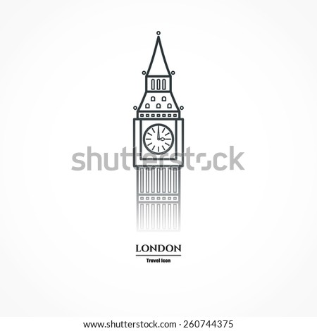 Vector Illustration Big Ben Icon Outline Stock Vector 260744375 ...