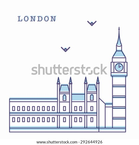 Vector illustration of Big Ben. Modern linear style. Clean lines and shapes. Can be used for logo, banners, posters and etc - stock vector