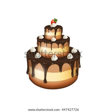 Vector illustration of big chocolate cake with cream and strawberry on white background