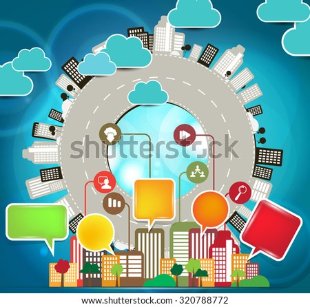 Vector illustration of Big City - stock vector