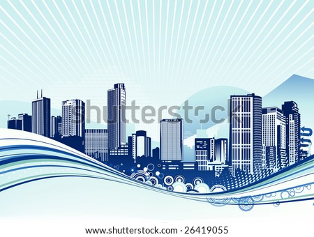 Vector illustration of Big City.  Blue urban background with abstract composition of dots and curved lines. - stock vector
