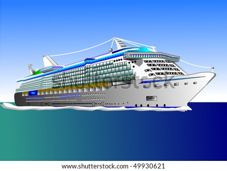 Vector illustration of big cruise ship on the sea or ocean - stock vector