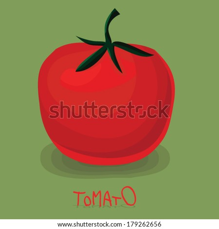 Vector illustration of big ripe red fresh tomato isolated on green background - stock vector