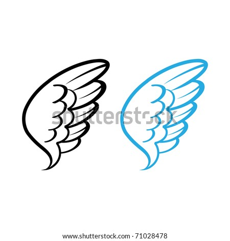 Vector illustration of Bird wing white feathers dove swan angel - stock vector