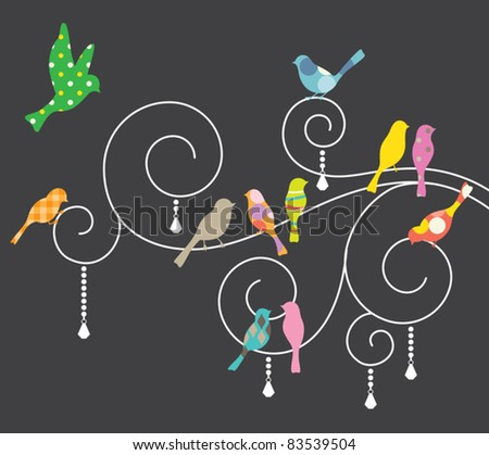 Vector illustration of birds on decorative swirls. - stock vector
