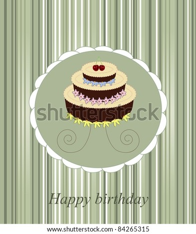 vector illustration of birthday cake (may be used for greeting card) - stock vector