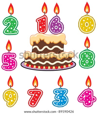 vector illustration of birthday candles and chocolate cake - stock vector