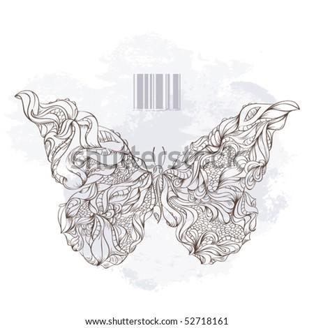 Vector illustration of bizarre butterfly. - stock vector