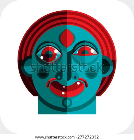 Vector illustration of bizarre modernistic avatar, cubism theme picture. Expression on a person's face. - stock vector