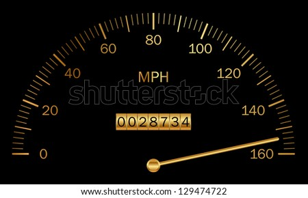 Vector illustration of black and gold speedometer - stock vector