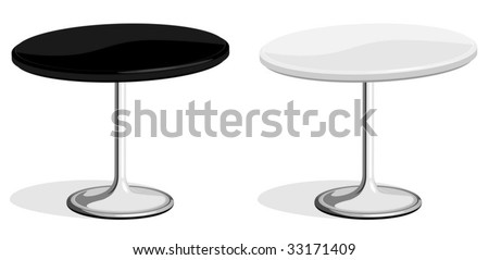 Vector illustration of black and white coffee shop table isolated on white background. No gradients or effects are used. - stock vector