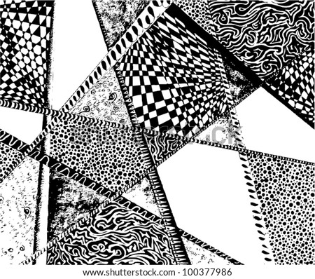 Vector illustration of black and white graphic pattern. - stock vector