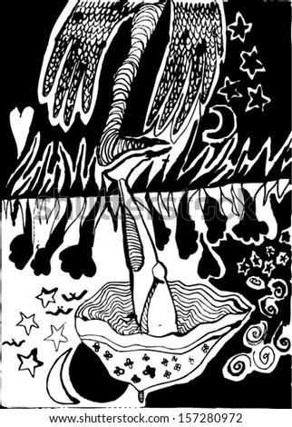Vector illustration of black and white psychedelic surrealism childish drawing. Leg, stars, birds, mushroom, umbrella, moon, wings, monster. Hand drawn. - stock vector