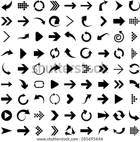 Vector illustration of black arrow icons.  - stock vector