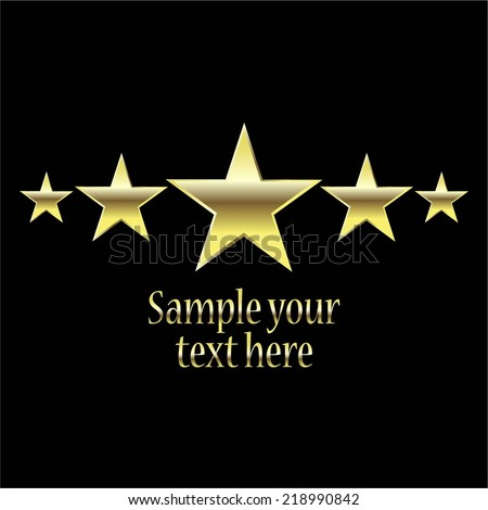 Vector illustration of Black background. 5 golden stars - stock vector