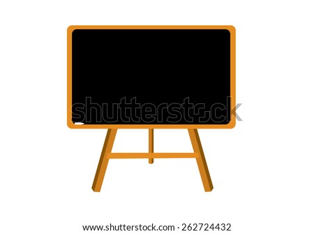 Vector illustration of black blank blackboard, sandwich board  with back to school text on it isolated on white background. Learning concept, symbol, icon, pictogram. No transparencies effects applied
