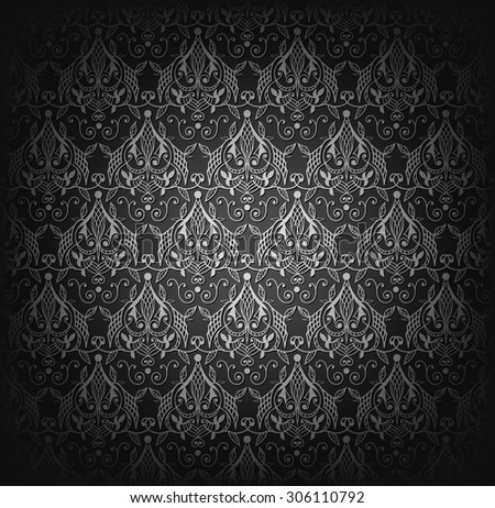 Vector illustration of black damask seamless pattern. - stock vector