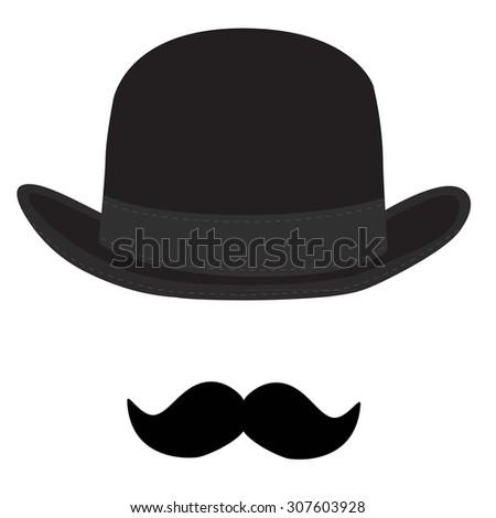 Vector Illustration Black Derby Hat Mustache Stock Vector ...