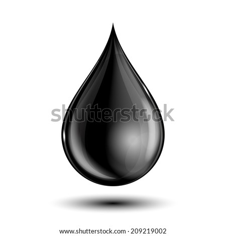 Vector illustration of black drop, isolated on white background - stock vector