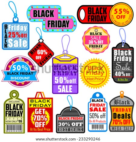 vector illustration of Black Friday Shopping Labels & Tags  - stock vector
