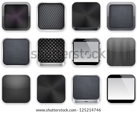 Vector illustration of black high-detailed apps icon set. Eps10. - stock vector