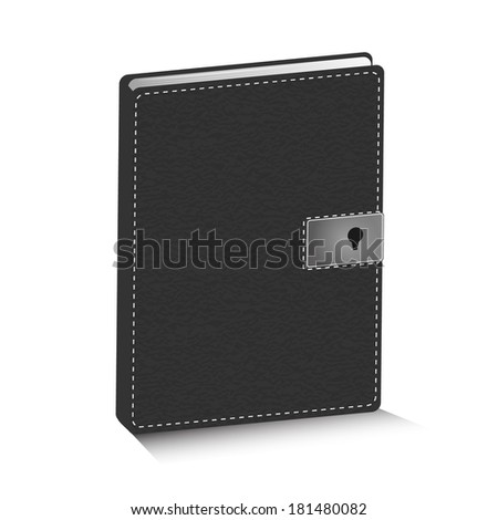 Vector illustration of black leather diary