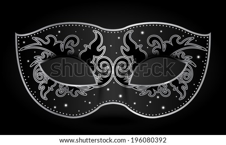 Vector illustration of black mask with silver decorations - stock vector