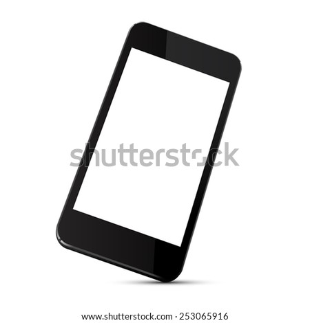 Vector illustration of black modern smartphone with blank screen stands on the corner, isolated on white background, - stock vector