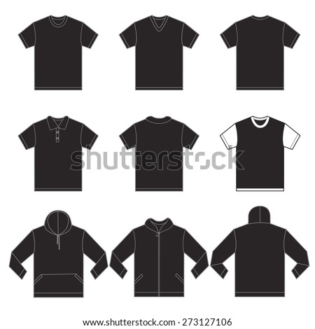 Vector illustration of black shirts template in many variation, front and back design isolated on white - stock vector