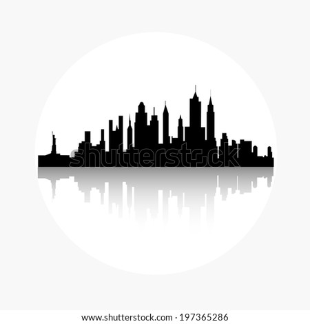 vector illustration of black silhouette of New York City with reflection - stock vector