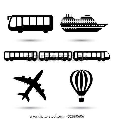 Vector illustration of black transport related icons. Bus ship, train, jet and air balloon symbol - stock vector