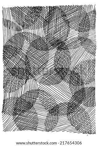 Vector illustration of black & white ornamental circle drawing. Hand drawn with lines. - stock vector