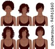 Vector Illustration of Black Women Faces. Great for avatars,  hair styles of African American women. - stock photo