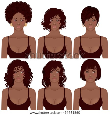 Vector Illustration of Black Women Faces. Great for avatars,  hair styles of African American women. - stock vector