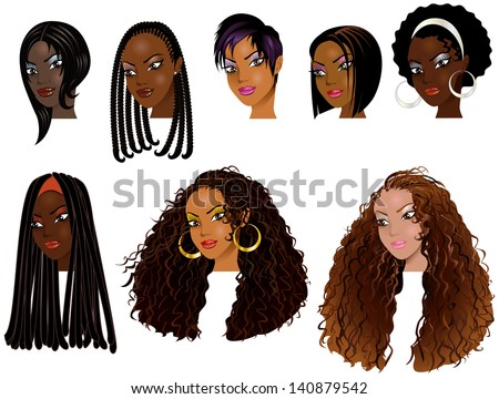 Vector Illustration of Black Women Faces. Great for avatars, makeup, skin tones or hair styles of African women. - stock vector