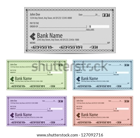Vector illustration of blank bank checks in different colors - stock vector