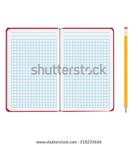 Vector illustration of blank empty  notepad, notebook. Opened notebook. Squared sheet paper and pencil - stock vector