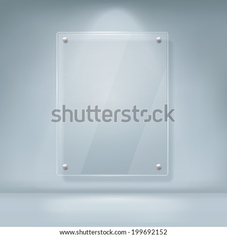 vector illustration of blank glass billboard with soft shadow isolated on white background - stock vector