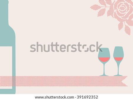 vector illustration of blank invitation card, with copy space, with delicate rose, ribbon and wine bottle and glasses design