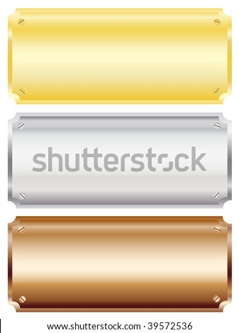 Vector illustration of blank metal wall or door plaques in brass, silver and copper with copy space. Isolated on white background. - stock vector
