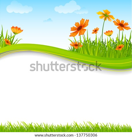 vector illustration of blank nature template with flower and grass - stock vector